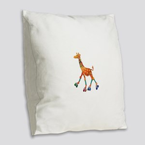 Roller Skating Giraffe Burlap Throw Pillow